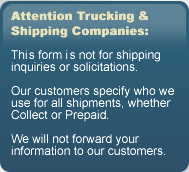 Attention: This form is not for shipping inquiries or solicitations